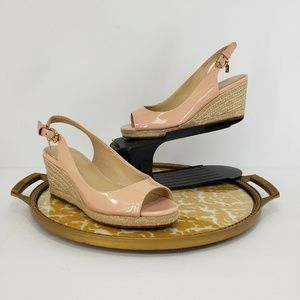 New Coach Harmony Patent Espadrille Peep Toe Wedge